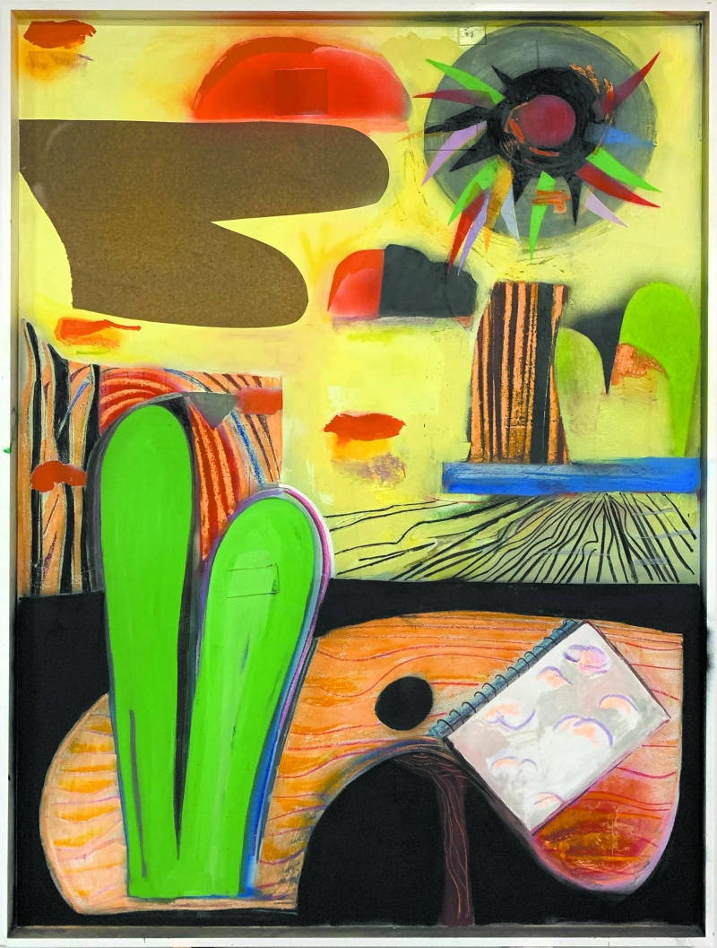 Tipies, Tipees, huile, spraypaint, craie, fusain sur bois, 210 x 160 cm, 2019